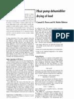 Heat Pump Dehumudifier Drying of Food