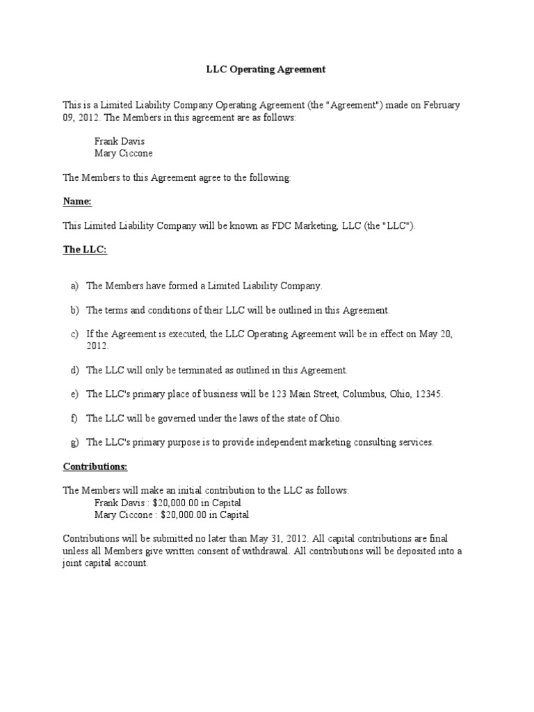 LLC Operating Agreement Limited Liability Company Government - New mexico llc operating agreement