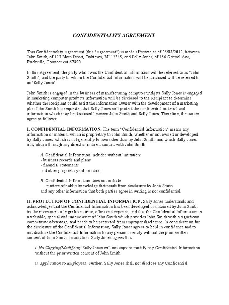 Confidentiality Agreement Confidentiality Non Disclosure Agreement