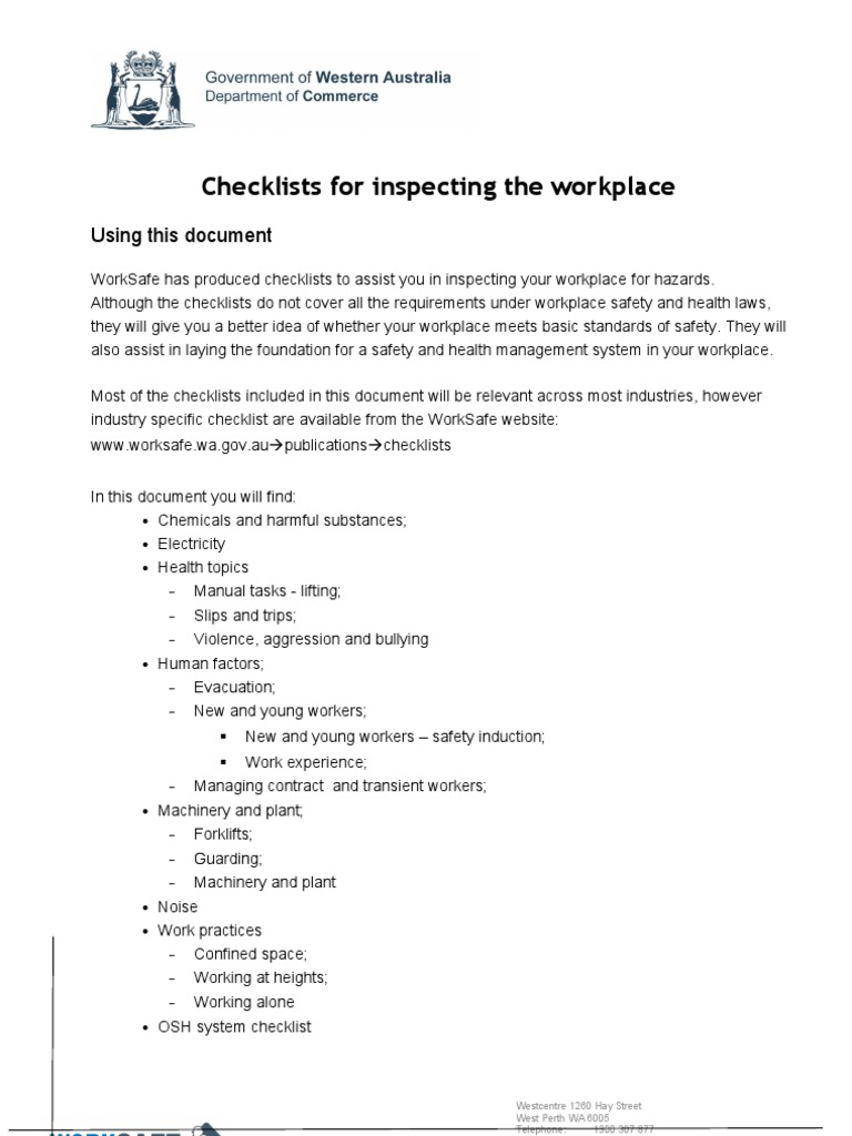 Guide To Inspecting The Workplace Occupational Safety And Health
