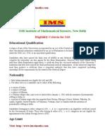 Eligibility Criteria for IAS