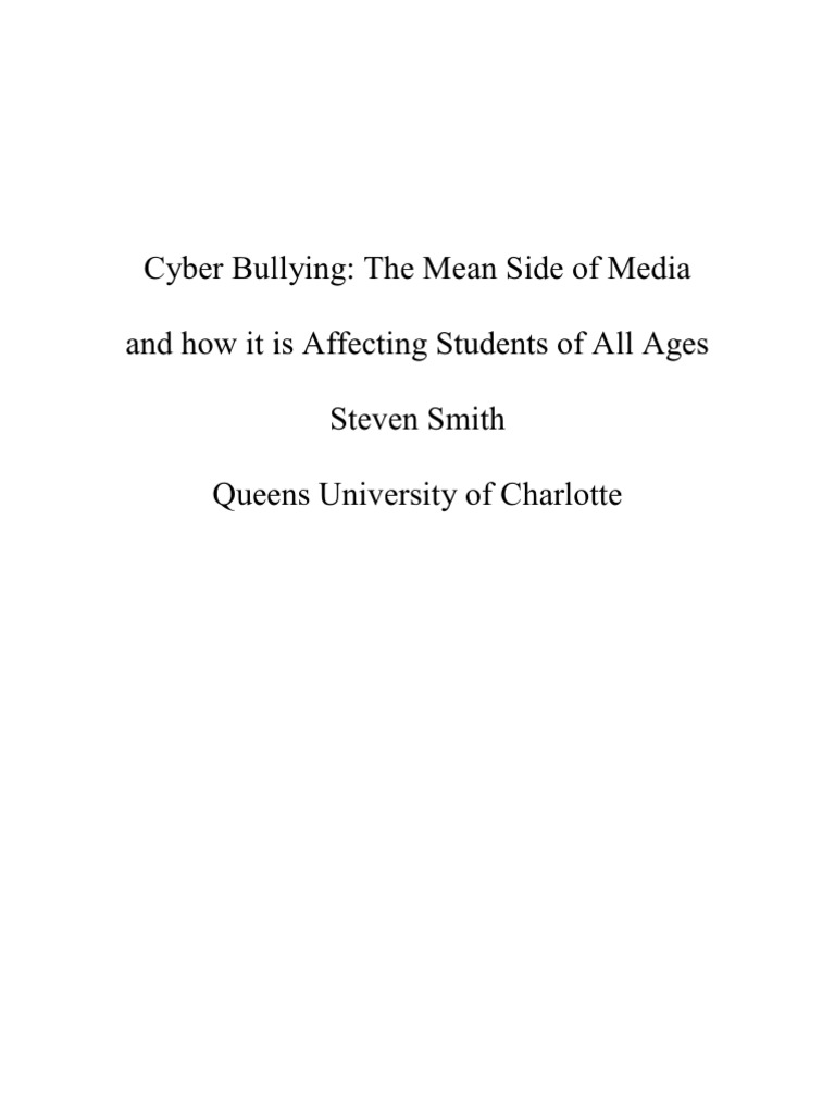 cyberbullying research paper outline