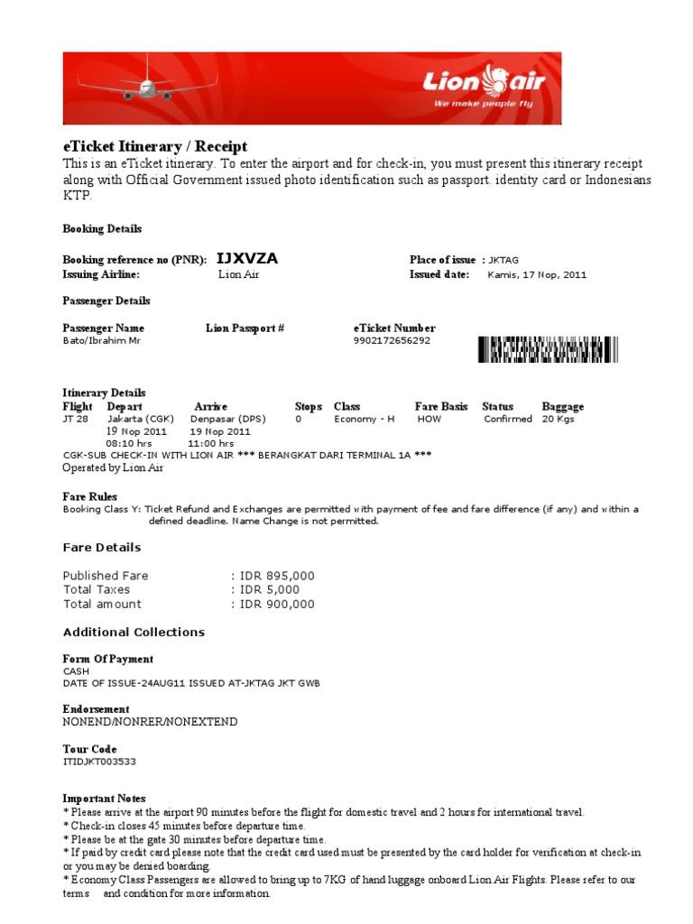 Contoh Tiket Pesawat Pdf Guru Galeri