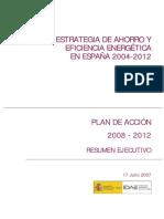 Plan de acción 2008-2012 de la estrategia de ahorro energètica 2004-2012