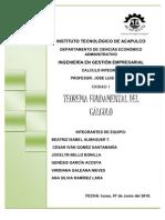 UNIDAD I TEOREMA FUNDAMENTAL DEL CÁLCULO CALCULO INTEGRAL