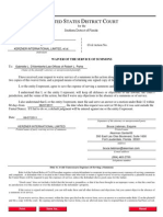 Waiver of Service of Summons - Kerzner International Limited
