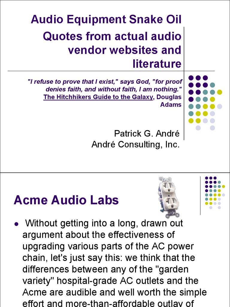 Audio Equipment Snake Oil Loudspeaker Cable Abx Double Blind Tester