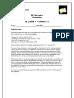 Y12 Realism Formalism Presentation Rubric