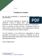 Comunicato Stampa  RAI Solidarietà SLC CGIL