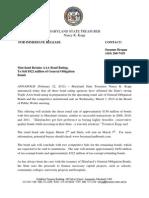Press Release 3-7-12 Maryland Bond Sale Credit Rating