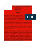 Manifesto of United Kashmir People's National Party (UKPNP)