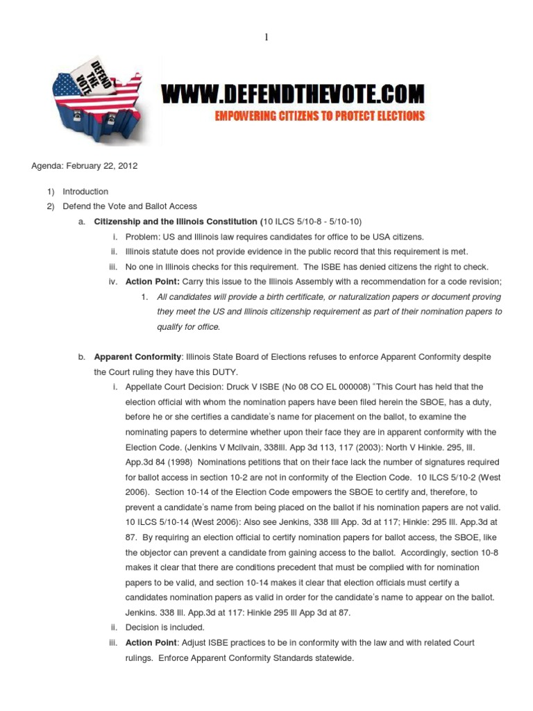 2 22 12 Defend The Vote Agenda At The Illinois State Board Of