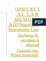 Commercial Law Memory Aid Negotiable Instruments Law