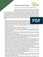 COMUNICADO A LA OPINIÓN PÚBLICA -ASOPRUDEA-