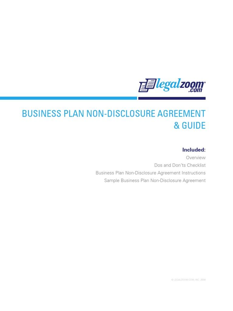 Business Plan Non Disclosure Agreement Non Disclosure Agreement Government Information