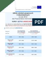Dofinansowane szkolenia z języka angielskiego dla Pracowników Administracji
