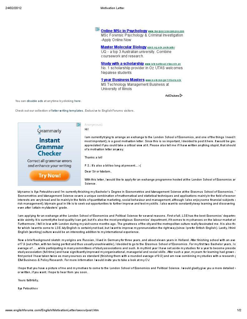 Motivation letter london school of economics master of science spiritdancerdesigns Choice Image