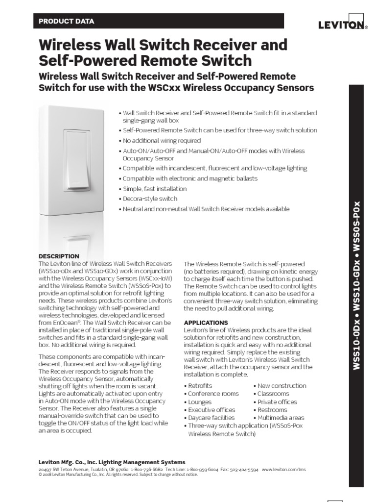 Product Specification Bulletin Wireless Wall Switch Receiver