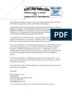 Welcome Letter to Individual Student