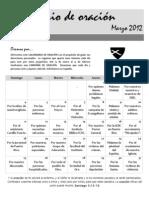 Calendario de Oracion ICDC Espinosa Marzo 2012
