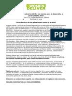 Postulacion Taller para jóvenes sobre los ODM y los marcos para el desarrollo,  a partir del año 2015