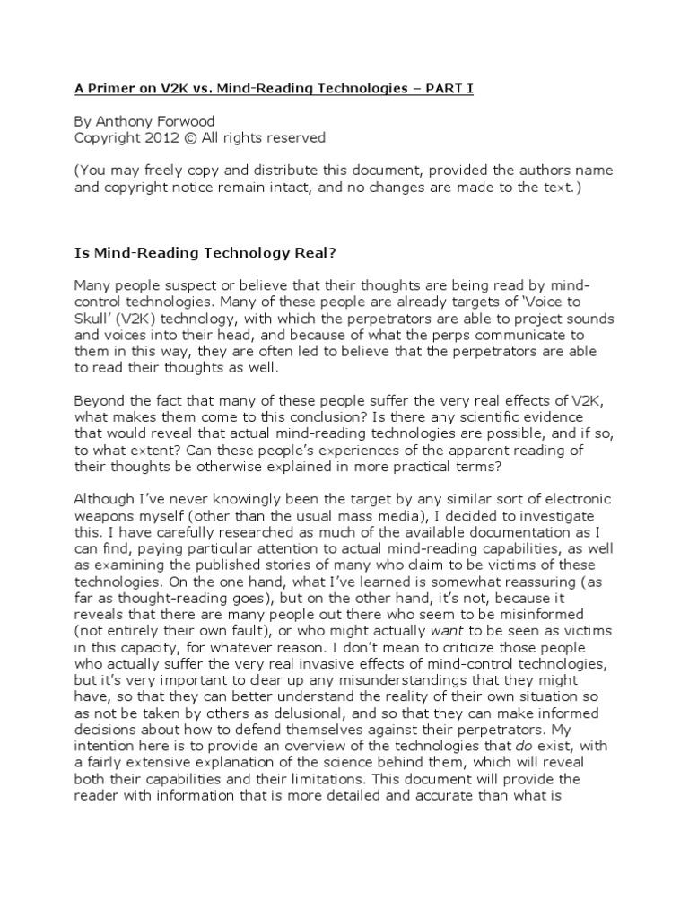 Is Mind-Reading Technology Real?: A Primer on V2K vs  Mind-Reading