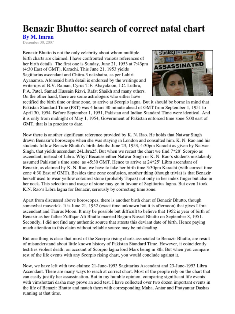 Benazir Bhutto Search Of Correct Chart Benazir Bhutto Horoscope