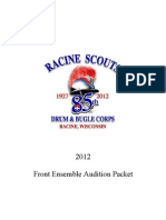 Racine Scouts 2012 Front Ensemble Audition Packet