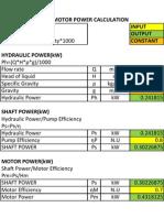 Pump & Motor Excel Calculator