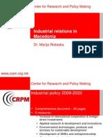 Industrial Relations- Marija Risteska CRPM