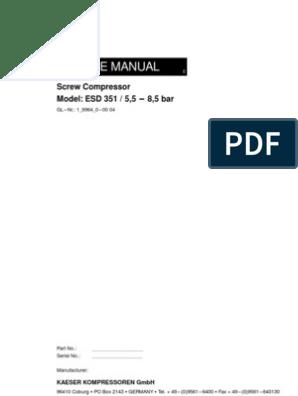 Compressor Manual (KAESER)1 9964-0-00 8-5bar | Gas Compressor | Fuse
