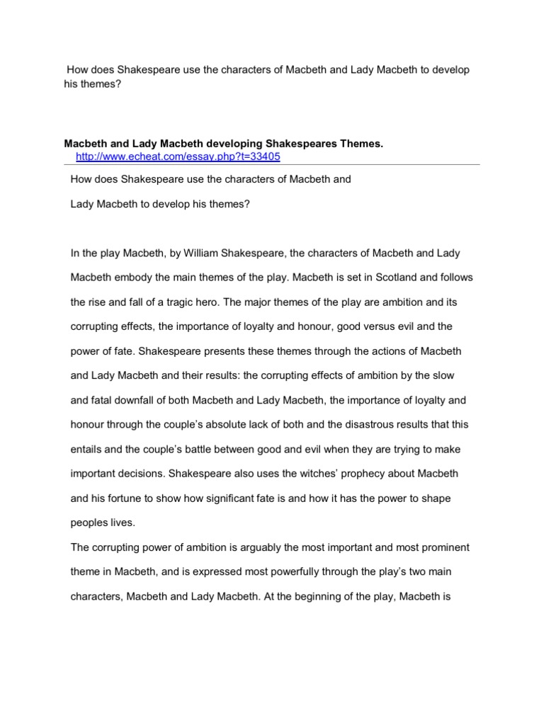an analysis of the character lady macbeth a play by william shakespeare Throughout william shakespeare's play, macbeth, lady macbeth is presented as an evil, cold-hearted person, but, when it comes to the actual act of committing the murder, lady macbeth does not commit murder.
