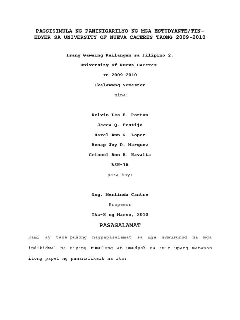tesis sa filipino Bilang pagtupad sa isa sa mga pangangailangan ng asignaturang filipino iv, pagbasa at pagsulat tungo sa pananaliksik.