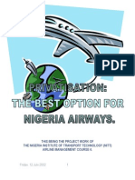 Nigeria Aviation; Focus on Nigeria Airways and the Privatisation Option