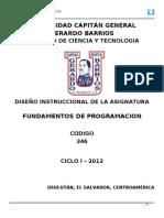 Diseño Instruccional Fundamentos de Programación 2012
