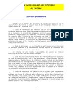 Code de Deontologie Medicale Du Quebec