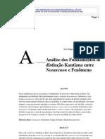 Análise dos Fundamentos da distinção Kantiana entre Noumenon e Fenômeno