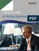 Henley-Fulltime MBA Brochure 071011