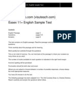 11 Plus Exams Essex Sample English Test