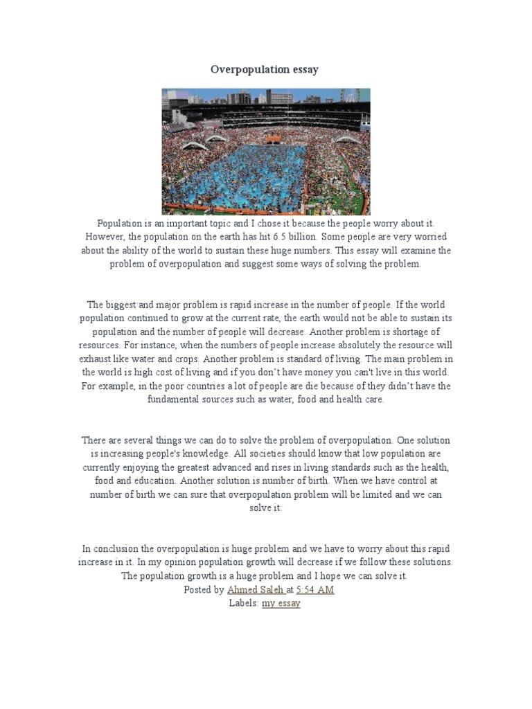 Short essay on overpopulation