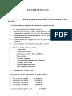 Rapport de Gestion Exercice 2009