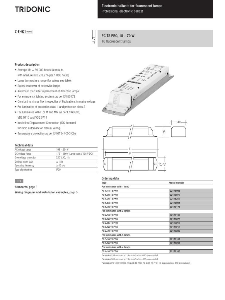 Tridonic Ds Pc T8 Pro 18 70w Xitec En Mains Electricity Mercury Vapor Ballast Wiring Diagram Electrical