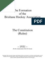 Brisbane Hockey Assn Constitution 1931-2