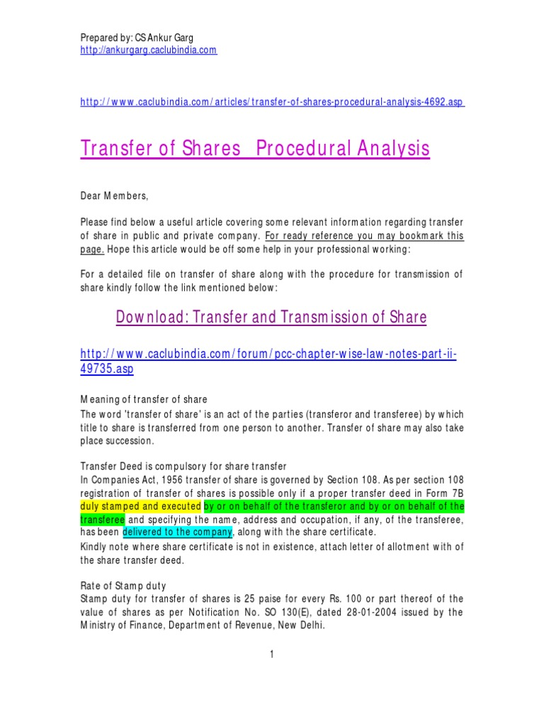 transfer of shares meaning