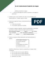 Ficha de trabalho de Conhecimento Explícito da Língua