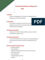 Consecutive Interpreting - Definitions - Objectives - Skills