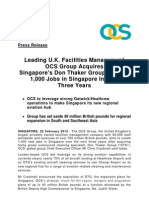 OCS GROUP LIMITED - Leading U.K. Facilities Management OCS Group Acquires Singapore's Don Thaker Group; To Add 1,000 Jobs in Singapore In Next Three Years