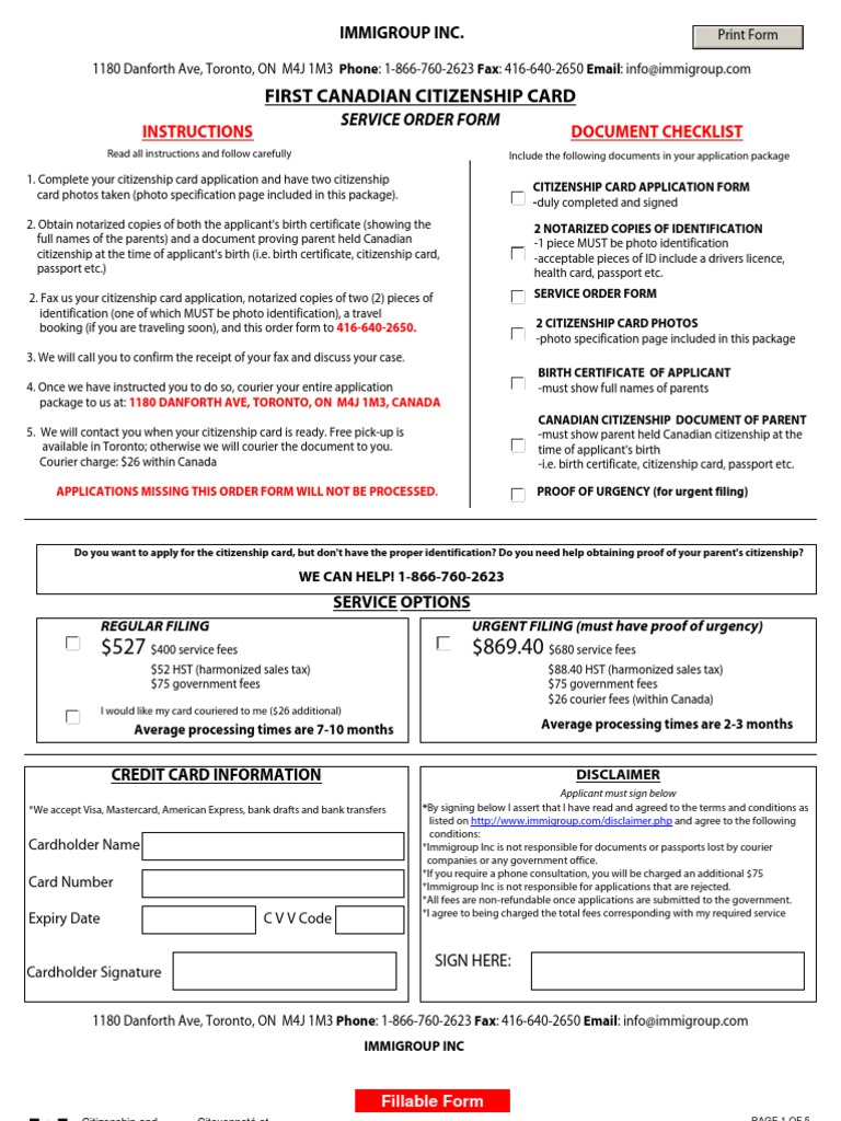 First Citizenship Card Kit Identity Document Birth Certificate