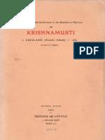 Krishnamurti à Auckland (Nouvelle-Zélande) - 1934