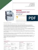 Ricoh Office Aficio Mp2000sp Ardf Rhmp2000sp